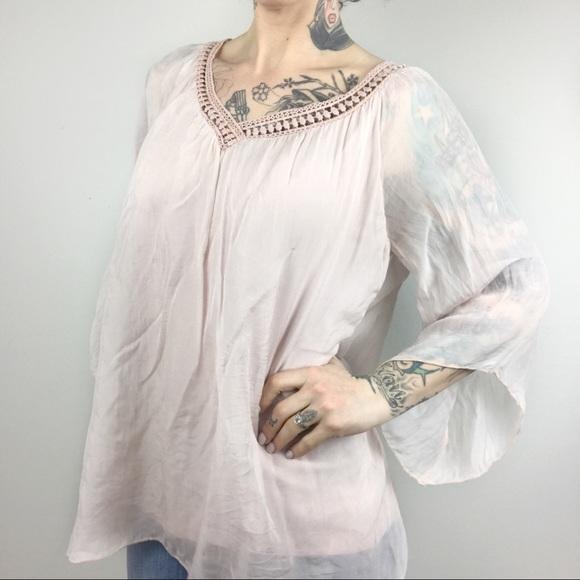 cffc0576fbd4f Elena Baldi Tops - Italian Elena Baldi Silk Crinkle Blouse
